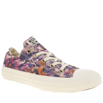 Womens Converse Purple All Star Floral Print Oxford Trainers