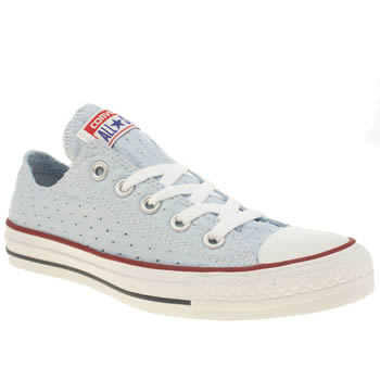 Womens Converse Pale Blue All Star Summer Material Ox Trainers