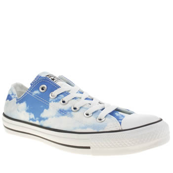Womens Converse White & Blue All Star Clouds Ox Trainers