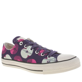 Womens Converse Purple All Star Canvas Print Apple Ox Trainers