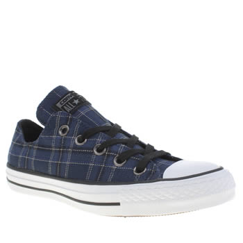 Converse Navy & White All Star Plaid Oxford Trainers