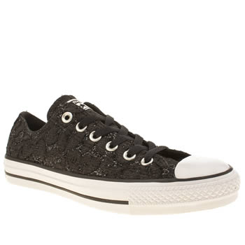 Converse Black & White All Star Glitter Lace Ox Trainers