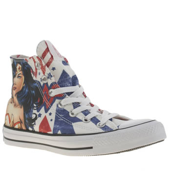 Converse White & Red All Star Wonder Woman Hi Trainers