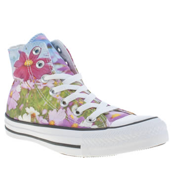 Converse White & Pink All Star Wildflower Hi Trainers