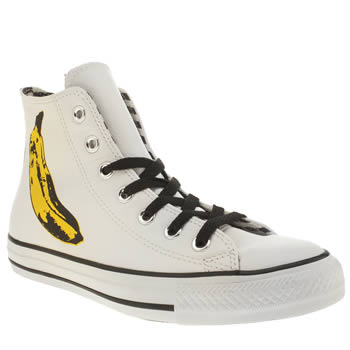 Converse White & Yellow All Star Warhol Banana Hi Trainers