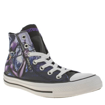 Converse Black & Purple All Star Catwoman Hi Trainers
