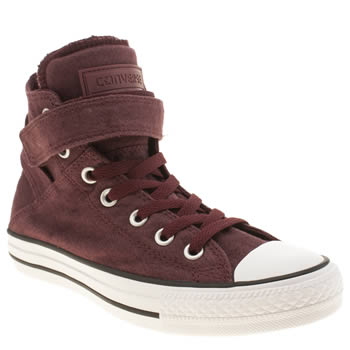 Converse Burgundy All Star Brea Material Hi Trainers