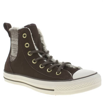 Converse Brown & Stone All Star Chelsee Shearling Hi Trainers