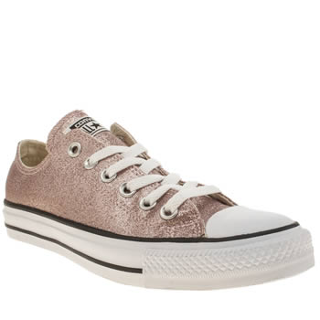 Womens Converse Pale Pink Glitter Oxford Trainers