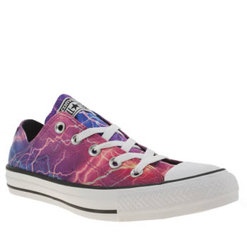 Converse Black & Purple Lightening Print Ox Trainers