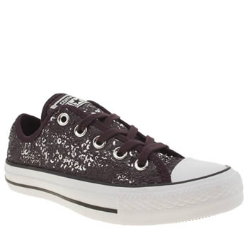 Womens Converse Purple All Star Distressed Sequins Ox Trainers