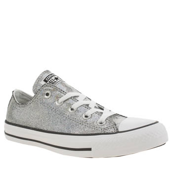 Converse Silver All Star Glitter Shine Ox Trainers