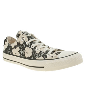 Converse Stone & Black All Star Andy Warhol Floral Ox Trainers