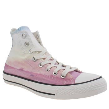 Converse White & Pink All Star Photo Real Sunset Hi Trainers