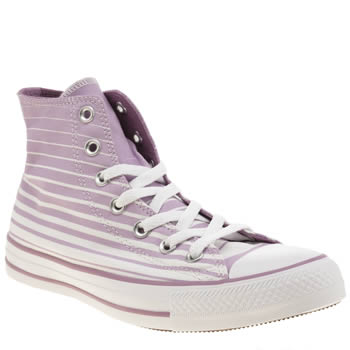 Converse White & Lilac All Star Stripes Hi Trainers