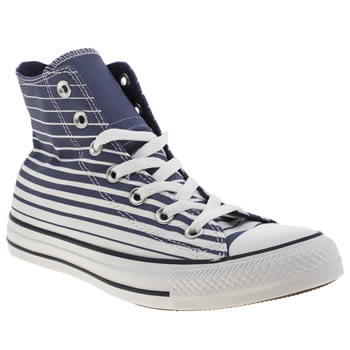 Converse White & Blue As Stripes Hi Trainers