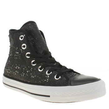 Converse Black & White All Star Distressed Sequins Hi Trainers