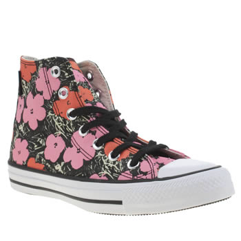 Converse Black & Red All Star Andy Warhol Floral Hi Trainers