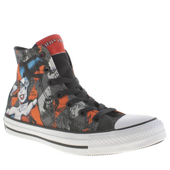 Converse Grey & Black All Star Harley Quinn Hi Trainers