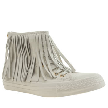 Converse Stone Premium Leather Fringe Hi Trainers