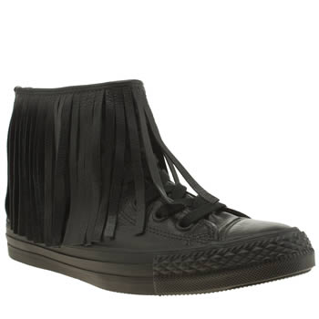 Converse Black Premium Leather Fringe Hi Trainers