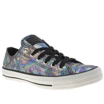 Converse Black & Purple All Star Iridescent Leather Ox Trainers