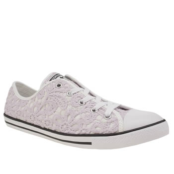 Converse White & Purple All Star Dainty Crochet Ox Trainers