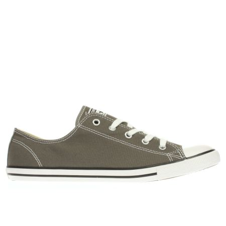 womens dark grey converse all star dainty ox trainers schuh