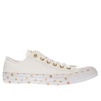 Converse White & Gold All Star Polka Dot Ox Trainers