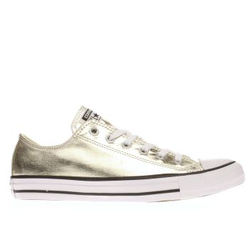 CONVERSE GOLD ALL STAR METALLIC CANVAS OX TRAINERS