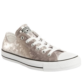 Womens Converse Pale Pink All Star Hologram Metallic Ox Trainers