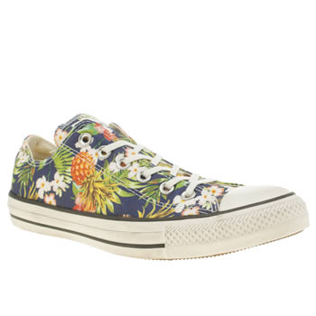 Converse Navy & Green All Star Pineapple Print Ox Womens Trainers