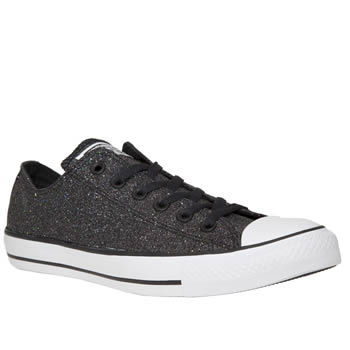 Converse Black & White All Star Glitter Ox Trainers