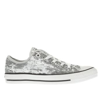 CONVERSE SILVER ALL STAR HOLIDAY PARTY OX TRAINERS