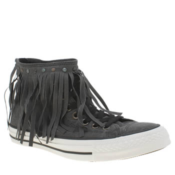 Converse Black Fringe Acid Wash Denim Hi Trainers