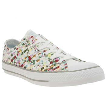 Converse White & Pink All Star Print Woven Ox Womens Trainers
