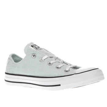 Converse Pale Blue All Star Sparkle Knit Ox Womens Trainers