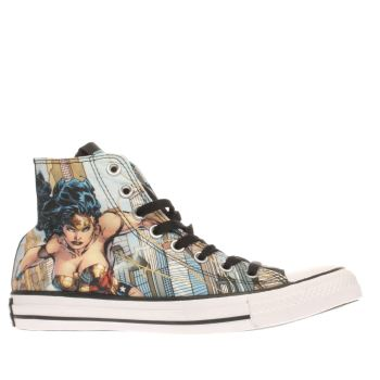 Converse Pale Blue All Star Wonder Woman Hi Trainers