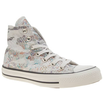 Converse Light Grey All Star Mountain Landscape Hi Womens Trainers