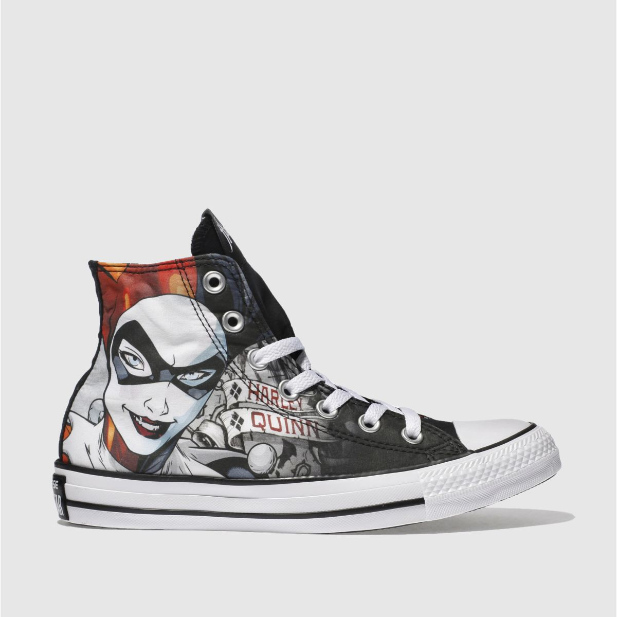 converse black & red all star hi harley quinn trainers
