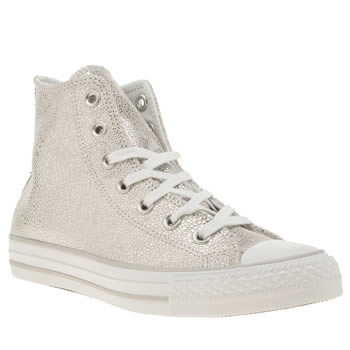 Converse Silver All Star Sting Ray Leather Hi Trainers