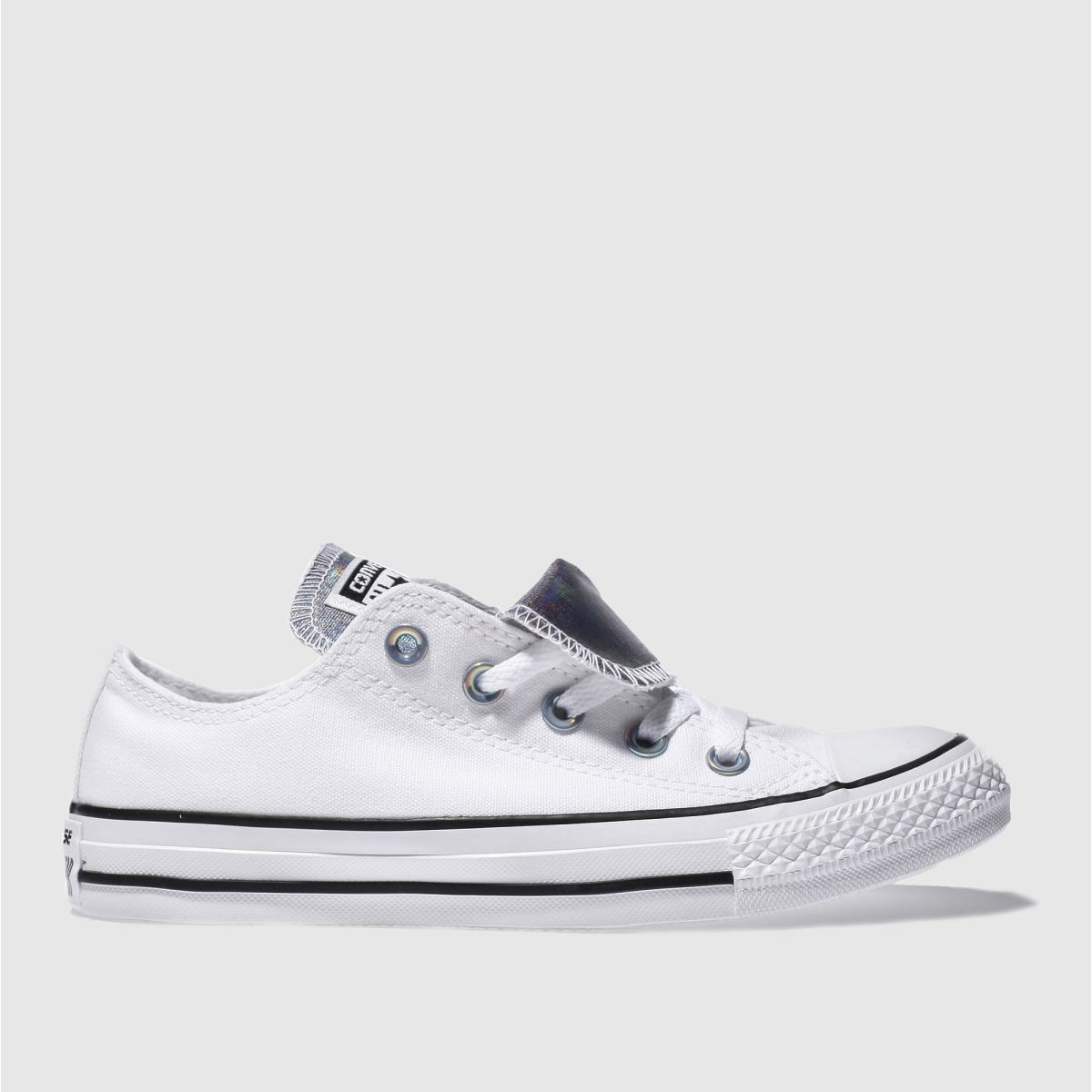 converse white double tongue iridescent trainers