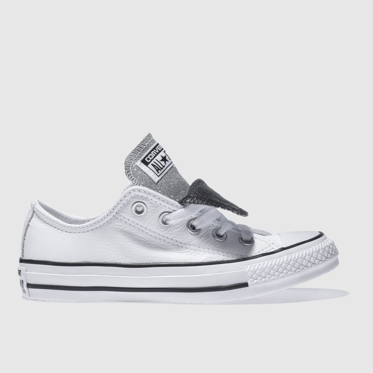 Converse White & Black All Star Double Tongue Ox Trainers