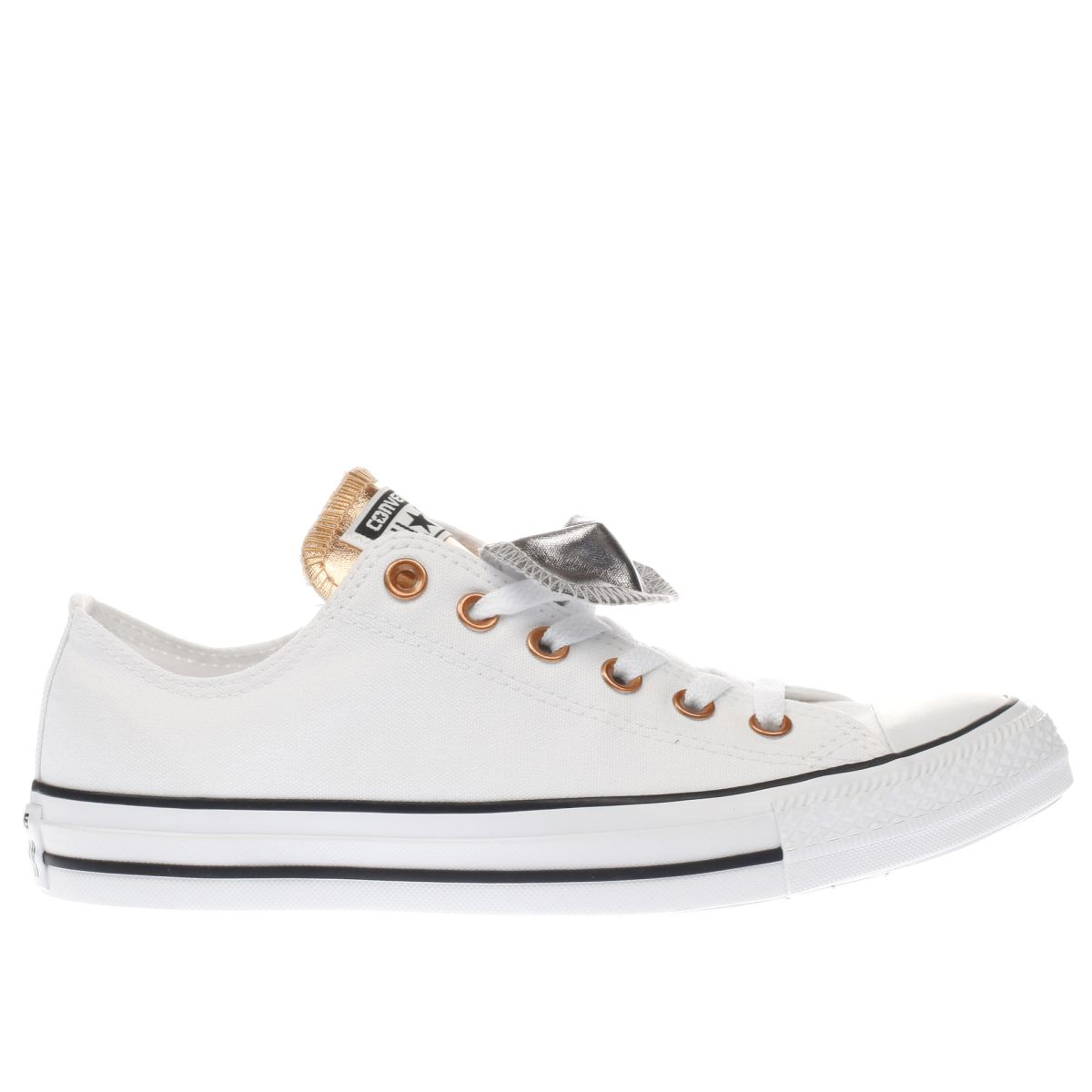 converse silver & bronze all star double tongue ox trainers