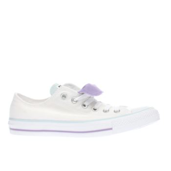 Converse White & Purple All Star Double Tongue Ox Trainers