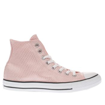 Converse Pale Pink All Star Snake Woven Hi Trainers