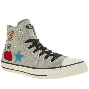 CONVERSE LIGHT GREY ALL STAR STICKER MOTIF HI TRAINERS