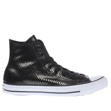 Converse Black & Gold All Star Metallic Snake Hi Trainers