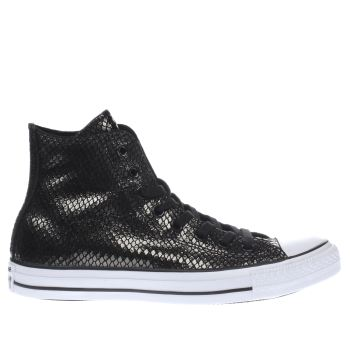 Converse Black All Star Metallic Snake Hi Womens Trainers