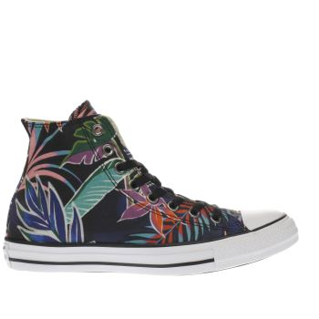CONVERSE BLACK ALL STAR TROPICAL PRINT HI TRAINERS